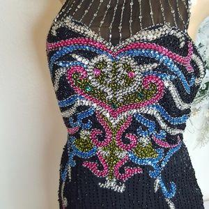 Amazing Vintage Night Waves sequin slit Dress M